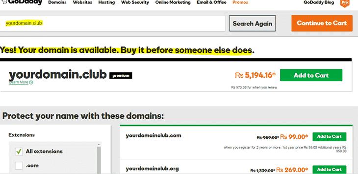 Buy domain name on godaddy Domainhostcoupon