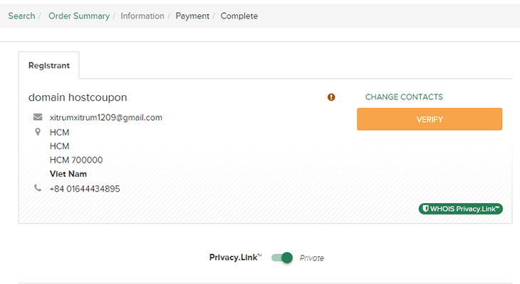 Confirm email to finish payment uniregistry