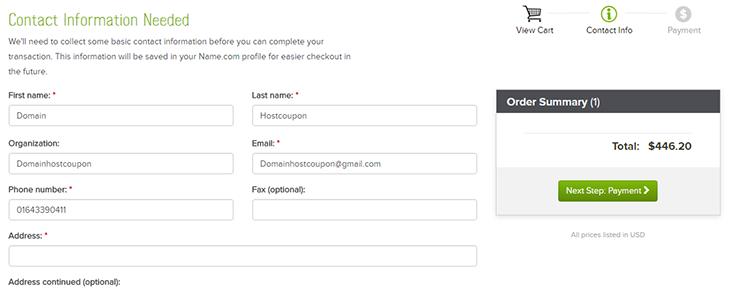 Fill form name come domainhostcoupon