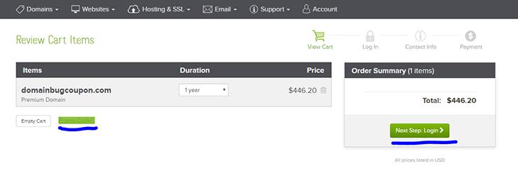 Screen buy domain on Name com domainhostcoupon