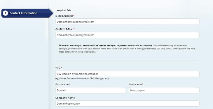 Step 2 on Checkout BuyDomain Domainhostcoupon