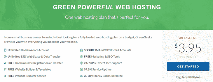 Basic Hosting Plans at GreenGeek