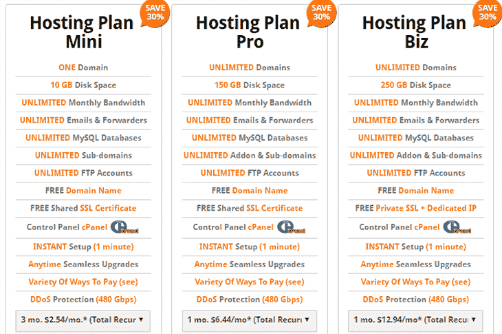 QHoster Web Hosting plans
