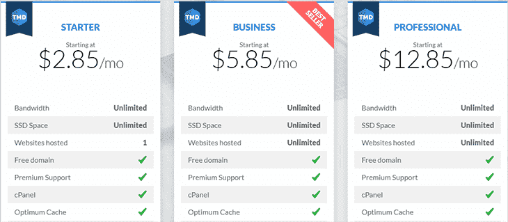 Web Hosting Plans at TMDHosting
