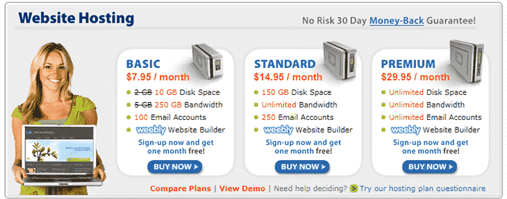 Webhosting Plans at DomainIt