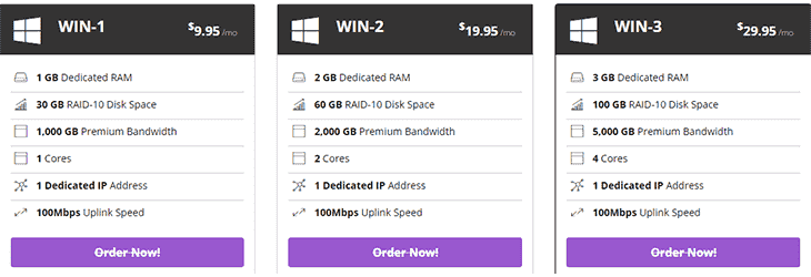 Windows VPS Plans