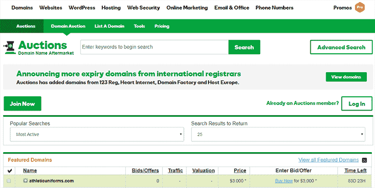 Domain Autions on Godaddy