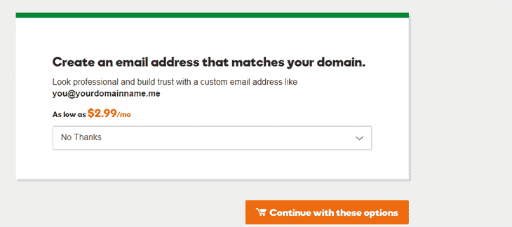 Next Page when buying Domain on Godaddy