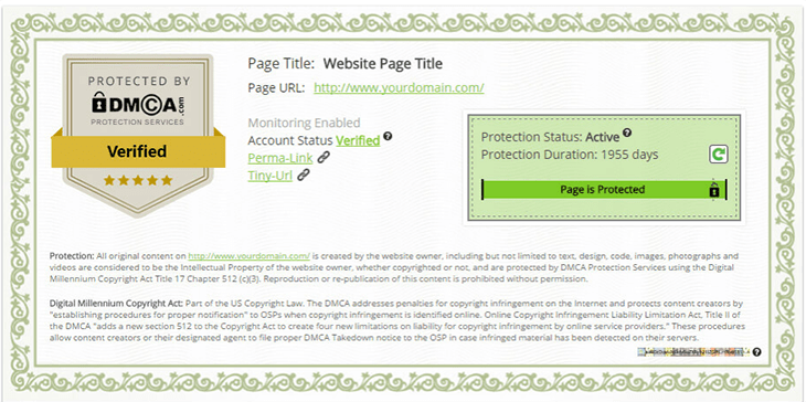 Verify DMCA for Content Website
