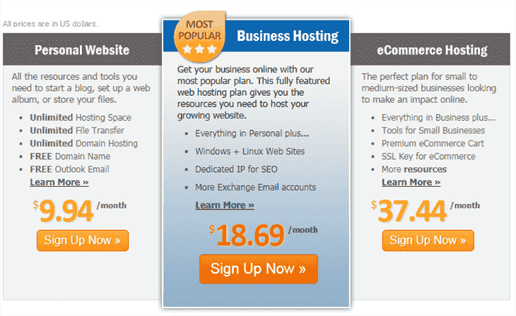 Web Hosting Plans at MyHost